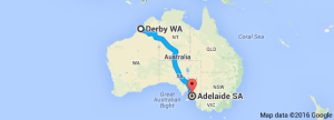 Derby to Adelaide map