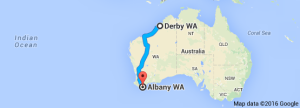 Derby to Albany map